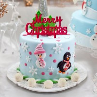 Topper Kue Cupcake Bahan Akrilik Desain Christmas untuk Dekorasi