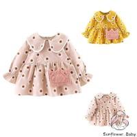 Zz-baby Dress Katun Bayi Perempuan Lengan Panjang Motif Bunga