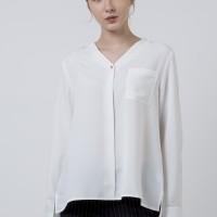 The Executive V-Neck Long Sleeves Blouse 5-BLWKEY120D084 Off White