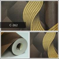 Wallpaper Sale Ready Modern Salur Emas Coklat 53CM X 10M