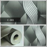 Wallpaper Sale Ready Modern Salur Putih Abu-abu 53CM X 10M