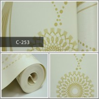 Wallpaper Sale Ready Salur Modern Krem 53CM X 10M
