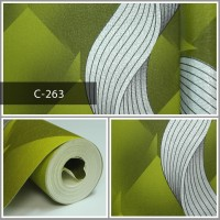 Wallpaper Sale Ready Modern Salur Putih Hijau 53CM X 10M