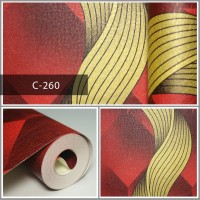 Wallpaper Sale Ready Modern Salur Emas Merah 53CM X 10M