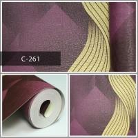 Wallpaper Sale Ready Modern Salur Emas Ungu 53CM X 10M