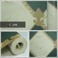 Wallpaper Sale Ready Modern Hijau Krem 53CM X 10M
