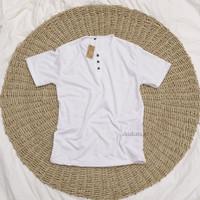 Kaos Kancing Lengan Pendek Pria/ Kaos Henley Unisex/Kaos Kancing Bagu - Putih