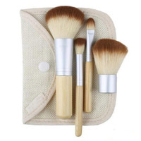 Kuas Make Up Bambu 4 Set - Brush Makeup Bamboo - Coklat Putih