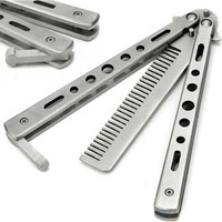Sisir Besi Butterfly Balisong Training Knife CS GO Stainless Steel - Silver
