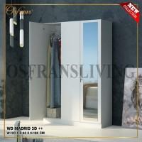 Lemari Pakaian 3 Pintu Besar Jumbo + Cermin WD MADRID 3D Harga Pabrik