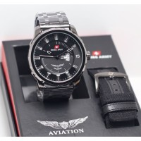 Jam Tangan Pria Swiss Army Original AVIATION Free tali kanvas