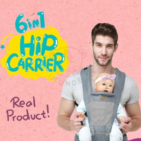 6-in-1 Premium Gendongan Baby Hip Carrier IMUNDEX + Hipseat - Abu2