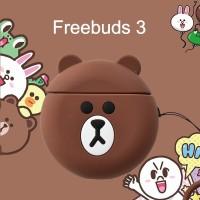 Huawei Freebuds 3 Brown Bear Line Silicone Case Bumper