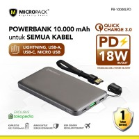 Micropack Power Bank 10.000 mAh Power Delivery 18w PB-10000.LPD (FS)