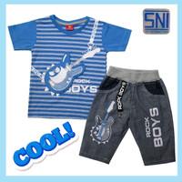 Baju Setelan Anak Laki-laki 3 4 5 tahun Atasan Kaos Celana Jeans