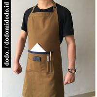 Apron Celemek Barista - Kanvas Premium Handmade - Tali leher Full Body