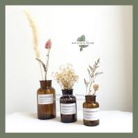 Glass Flower Vas Kaca Brown Cokelat Pot Bunga Gelas Botol Dekorasi