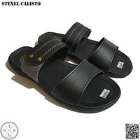 STEXEL CALISTO Sandal Casual Pria Double Strap Variasi Abu Premium
