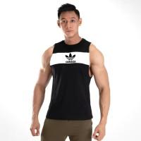 COMBI WHT ADIDAS - Singlet Gym Fitnes Baju training pria kaos Running