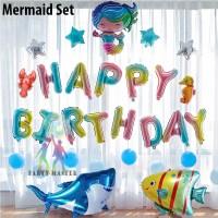 Balon Foil Ulang Tahun Mermaid Set