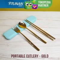 Sendok Makan Set Korea Gold - Cutlery Set Gold with Box Sedok Sumpit