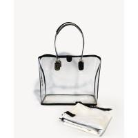 Dapoza Visi Bag Aqua Leather Tote Transparan / Tas kulit wanita