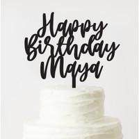 CUSTOM TOPPER HAPPY BIRTHDAY / CAKE TOPPER / HURUF AKRILIK
