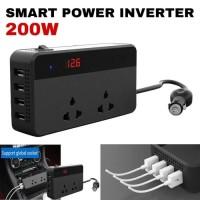 Smart Power Inverter 200W 2 Socket 4 USB Port multifungsi untuk MOBIL