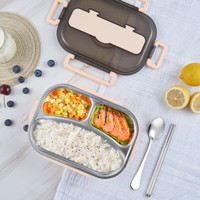 ES Kotak Tempat Makan Siang Stainless Dewasa Anak Lunch Box - Merah Muda, 3 Sekat