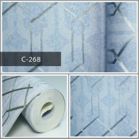 Wallpaper Sale Ready Polygonal Silver Biru 53CM X 10M