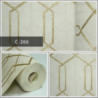Wallpaper Sale Ready Polygonal Emas Krem 53CM X 10M