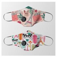 Masker kain Valve filter non medis Unisex dewasa - Panda in Love