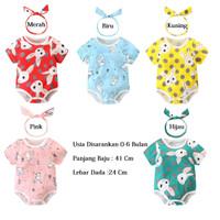 Romper Bayi Cewek Imut / Jumper Bayi Cewek Lucu / Baju Kodok Bayi Anak - Merah