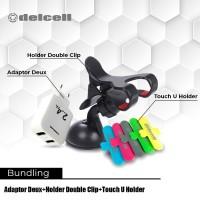 Promo Bundling Adaptor Deux 2.4 A + Car Holder + Touch Holder