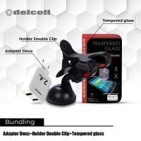 Promo Bundling Car Holder + Adaptor Deux 2.4 A +Tempered Glass