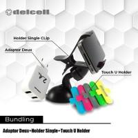 Promo Bundling Adaptor Deux 2.4 A + Car Holder Single + Touch Holder