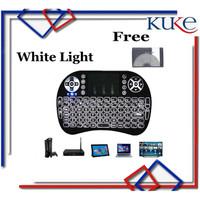 WHITE LIGHT Keyboard Air Mouse i8 Mini Keypad Wireless Touchpad - WHITE LIGHT
