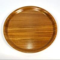 Round Wooden Tray - Nampan Kayu Bulat 40 cm / Piring Saji 40cm