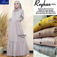 Reyhan Maxi Dress Kotak Busui Flanel Premium Gamis Big Size Muslim