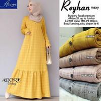 Reyhan Gamis Kotak Busui Flanel Premium Maxi Dress Big Size Muslim