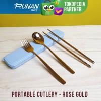 Sendok Garpu Stainless Set Portable Rose Gold Sumpit Sendok Set Korea