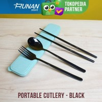 Sendok Makan Set Portable Korea Hitam - Sendok Garpu Set Korea Black