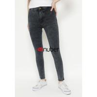 Celana Panjang Jeans Highwaist Wanita Stretch Retro Black-Petunia