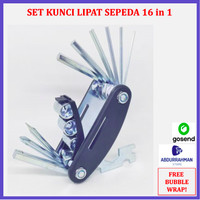 Bicycle Bike Tool Set Kit Kunci L Shock Lipat Spare Part Sepeda 16in1