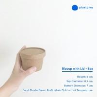 Paper Cup 8 oz with Lid Gelas Es Krim Pudding Biodegrable Kraft