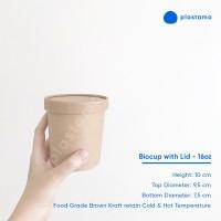 Paper Cup 16 oz with Lid Gelas Es Krim Pudding Biodegradable Kraft
