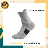 Performance Socks-Kaos Kaki Panjang Olahraga Basket Fitness Gym-Grey