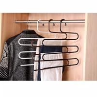 Hanger Celana Bentuk S ( bisa 5 celana ) gantungan baju celana
