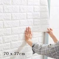 Wallpaper Batu Bata Putih FOAM 3D 77x70cm