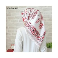 satin hijab Bunga Kerudung Jilbab Segi Empat Premium Square Motif L145